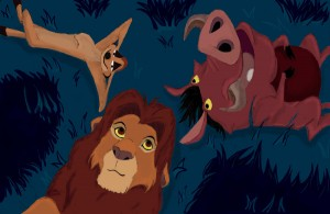 Timon__Pumba_and_Simba_by_Elendar89